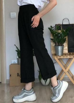Черные прямые штаны брюки из льна