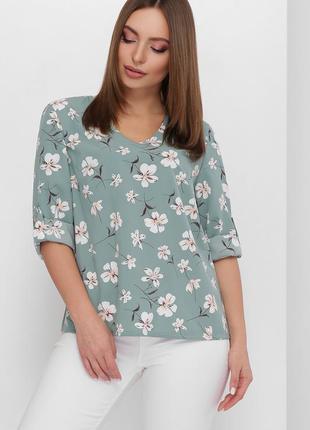 Женская легкая повседневная блуза без воротника с принтом (1878 mrss)
