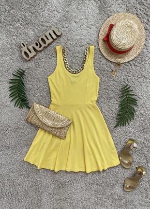 Базовое желтое платье футболка №206