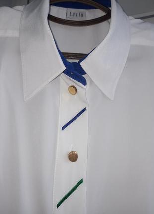 Lucia .блуза винтаж  белоснежная со вставками из цвеьной вышивки