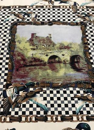 Шикарный шарф/палантин с принтом старинного пейзажа и уток esclusiva serica alta moda