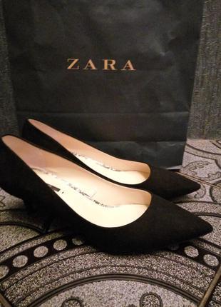 Zara туфли замш черные низкий каблук