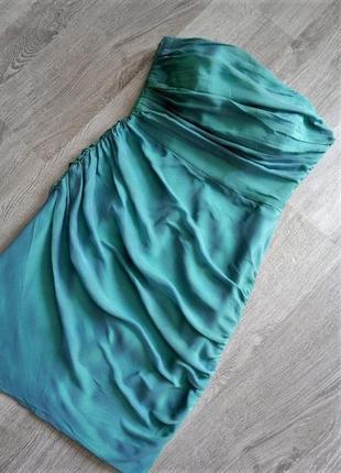 Новое эксклюзивное нарядное  шелковое платье с драпировкой 100% натуральный шелк