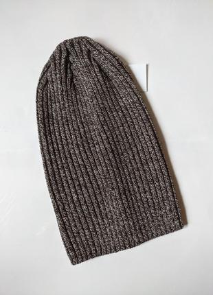 Модная шапка бини, 54-57р, коричневый меланж