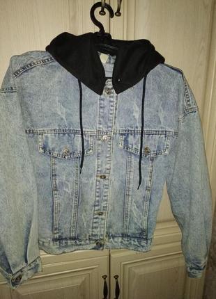 Голубая джинсовая куртка джинсовка оверсайз с капюшоном ветровка возможен обмен