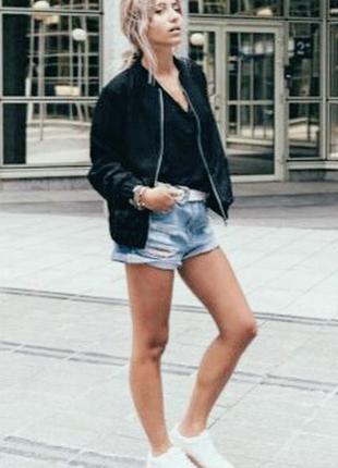 Сатиновый черный бомбер-куртка ветровка, спортивный divided by h&m, шелковый