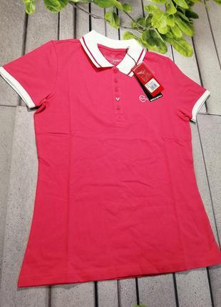 Яскрава жіноча футболка поло рожева з білим комірцем