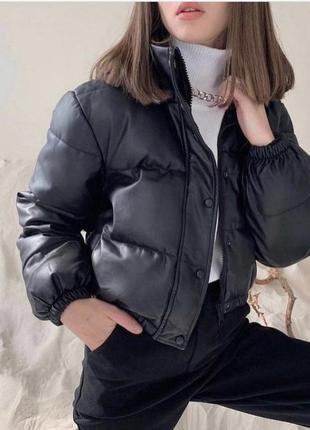 Кожаная дутая куртка {zara}