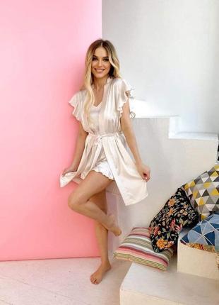 Пижама  халат  майка шорты шелк