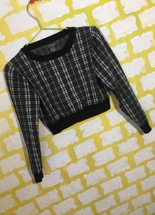 Актуальный укороченный свитер primark в клетку джемпер, свитшот кроп топ2 фото