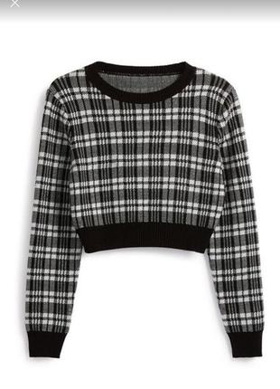 Актуальный укороченный свитер primark в клетку джемпер, свитшот кроп топ