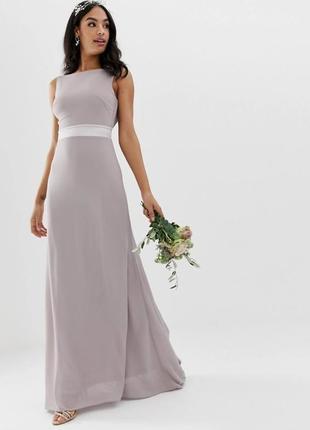 Шикарное вечернее, выпускное, свадебное платье в пол с открытой спинкой и шикарным бантом.