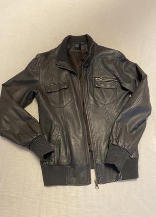 Серая куртка из искусственной кожи с резинкой по низу house m