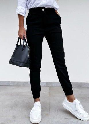 Брюки-джоггеры женские джинс-бенгалин, три цвета4 фото