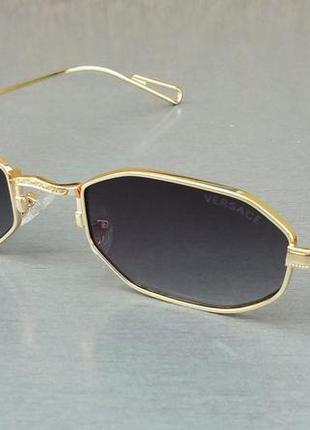 Versace очки унисекс солнцезащитные модные восьмигранные черные в золоте