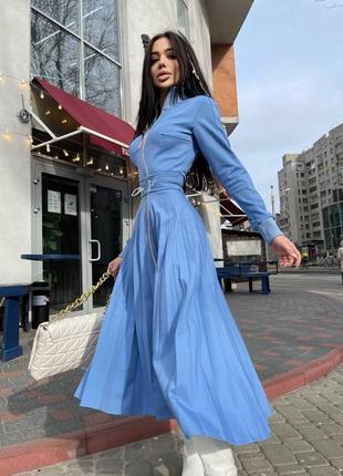 Платье миди с юбкой плиссе