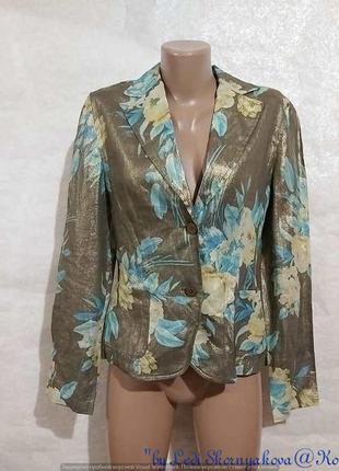Фирменный taifun пиджак/жакет со 100 % льна с золотистым напылением по ткани, размер с-м