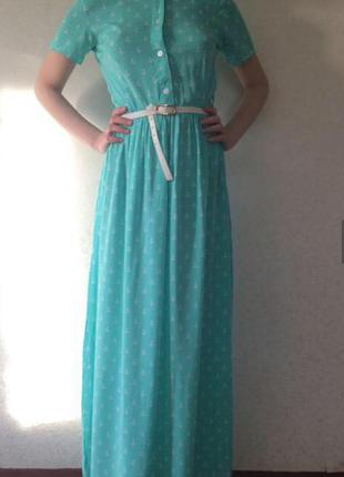 Хлопковое платья в пол длинное берюзовое
