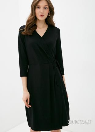 Англия базовое стильное чёрное платье на запах,v-образный вырез