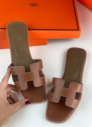 Шлепанцы кожаные женские брендовые коричневые
