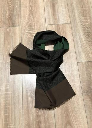 Мужской двусторонний шерстяной шелковый шарф pure silk and wool