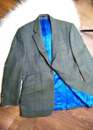 Твидовый блейзер / жакет хаки в синюю клетку slim fit