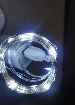 Гирлянда роса 5v usb на 30ламп 3м белая