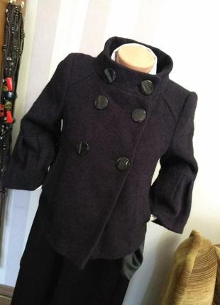 Укороченное шерстяное  пальто в винтажном стиле альпака шерсть