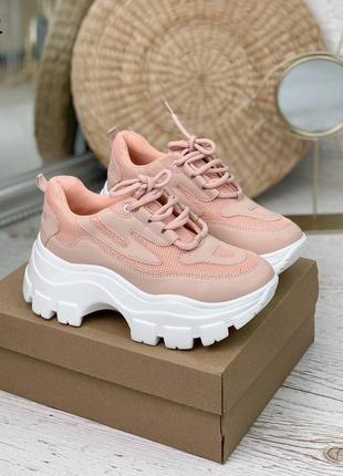 Кроссовки =still= светло-розовые на толстой подошве