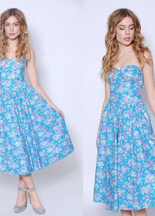 Laura ashley платье бюстье ретро размер с с карманами