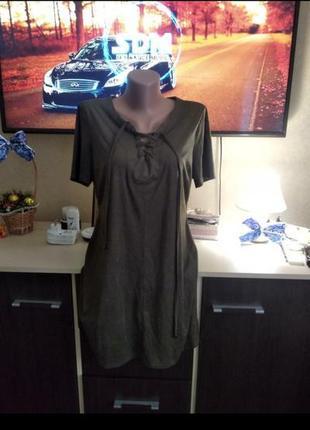 Платье футболка с шнуровкой