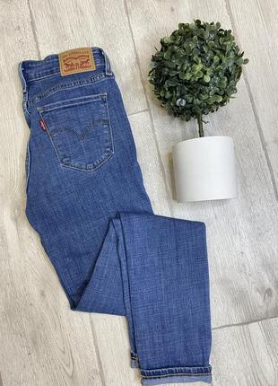 Оригинальные голубые джинсы levis 711 skinny ускачи , зауженные женские  джинсы