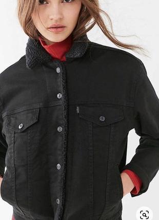 Оригинал levis sherpa женская чёрная джинсовая шерпа джинсовка пиджак с мехом