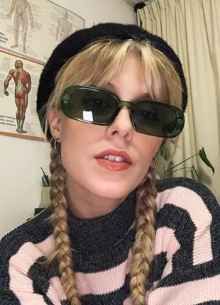 Трендовые очки солнцезащитные узкие овальные зеленые ретро окуляри