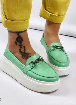 Слипы туфли кожаные