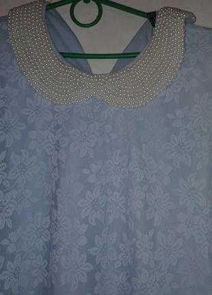 Блузка воротник жемчуг