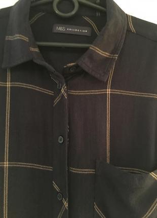 Классная длинная, приятная рубашка в клетку с разрезами