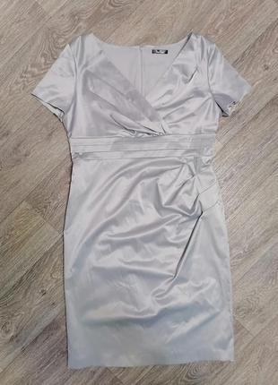 Платье-футляр с запахом, нарядное платье миди
