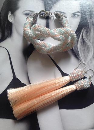 Набор браслет и серьги кисти нежного цвета