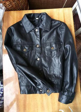 Трендовая  кожаная куртка на пуговицах с карманами 100% кожа