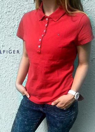 Поло tommy hilfiger polo жеснкое томми хелфигер красное футболка