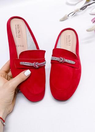 ❤️ шикарные замшевые красные шлепанцы с закрытым носком мюли