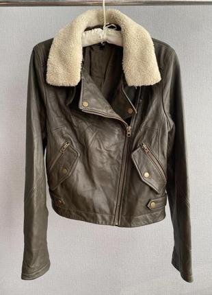 Кожаная куртка косуха (воротник отстегивается)