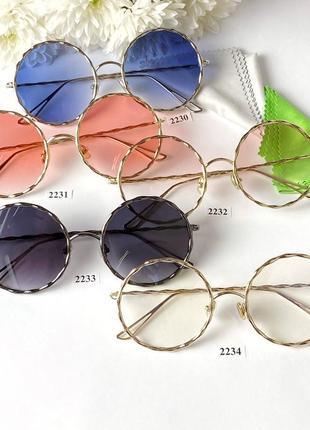 Круглые металлические солнцезащитные очки с синими линзами  синие
