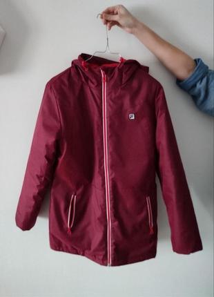Подростковая куртка парка фила fila рост.164  на хс бордо полиестер