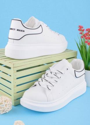 Стильные белые кроссовки кеды криперы на платформе толстой подошве большой размер батал