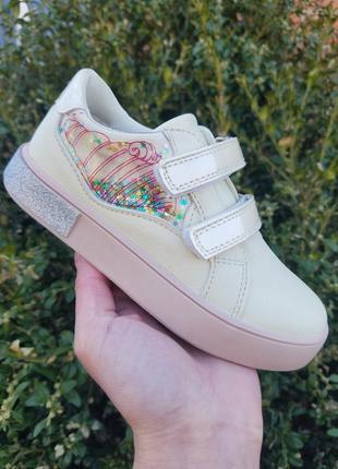 Слипоны туфли кеды для девочки кремовый цвет tom.m 28 29 30 31 32 33 размер