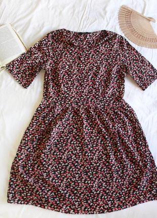 Хлопковое платье миди в цветочек next (размер 12-14)
