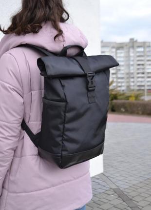 Крепкий рюкзак роллтоп ролтоп rolltop (дно экокожа, карман под ноутбук) мужской женский