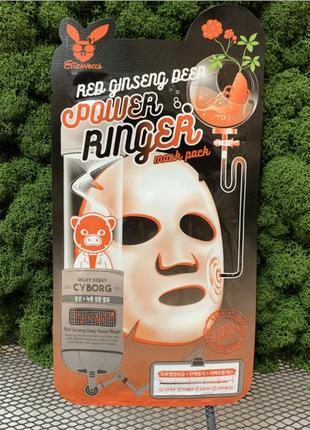 Маска омолаживающая с женьшенем elizavecca face care red ginseng deep power ringer mask